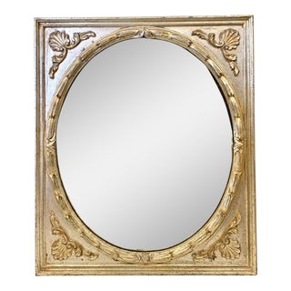 Oval Mirror in Carved Silver Frame For Sale