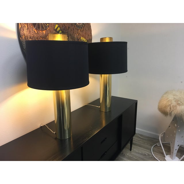 Brass Modernist Brass Column Lamps - a Pair For Sale - Image 7 of 9