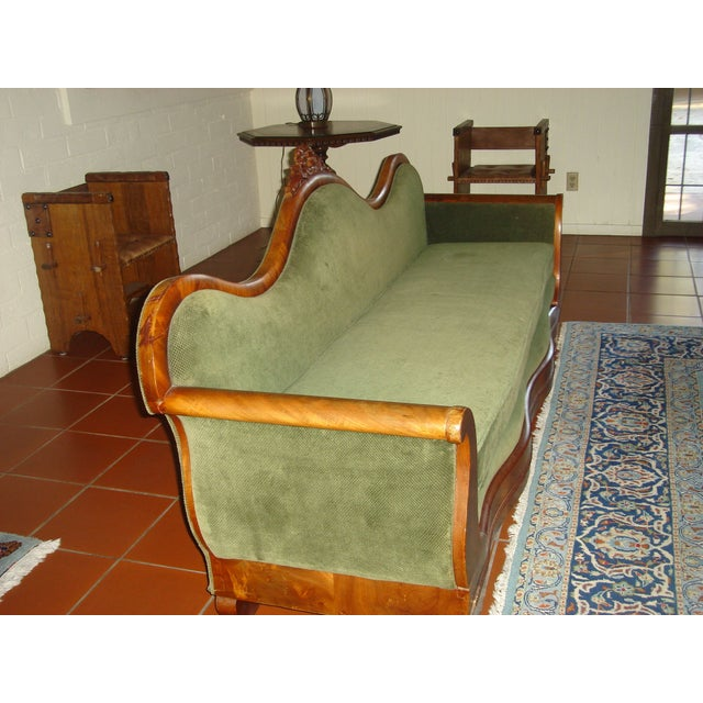 Green Velvet Serpentine Victorian Sofa For Sale - Image 4 of 6
