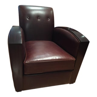 Art Deco Style Christopher Guy Grosvenor Brown Leather Club Chair