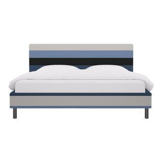 King Tailored Platform Bed in Blue Color Block Stripe For Sale