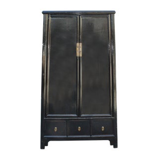 Chinese Distressed Black Lacquer Ladder Shape Tall Armorie Cabinet
