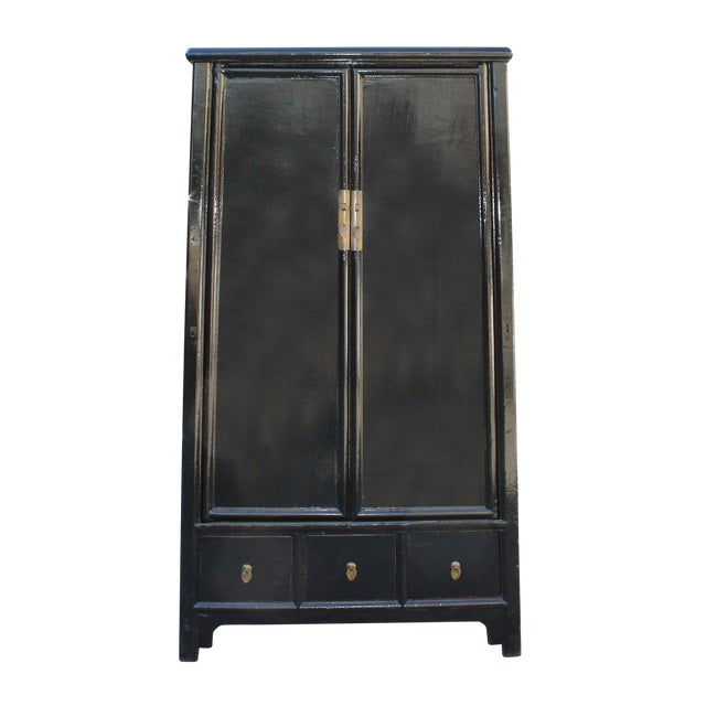 Chinese Distressed Black Lacquer Ladder Shape Tall Armorie Cabinet For Sale