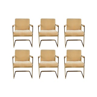 Six Mid Century Milo Baughman for Thayer Coggin Cantilever Brass Armchairs For Sale