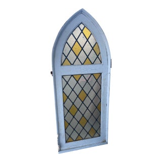 Arched Cathedral Spanish Tutor Style Leaded Glass Window For Sale