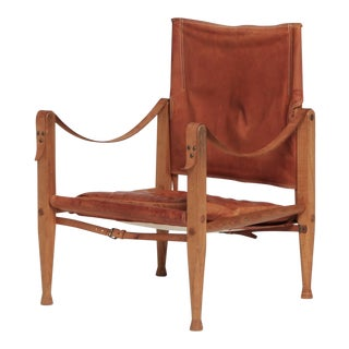Vintage Mid Century Kaare Klint Rud Rasmussen Patinated Tan Leather Safai Chair For Sale