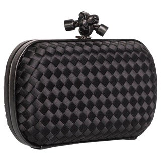 2000s Bottega Veneta Black Intrecciato Satin Leather Knot Clutch For Sale