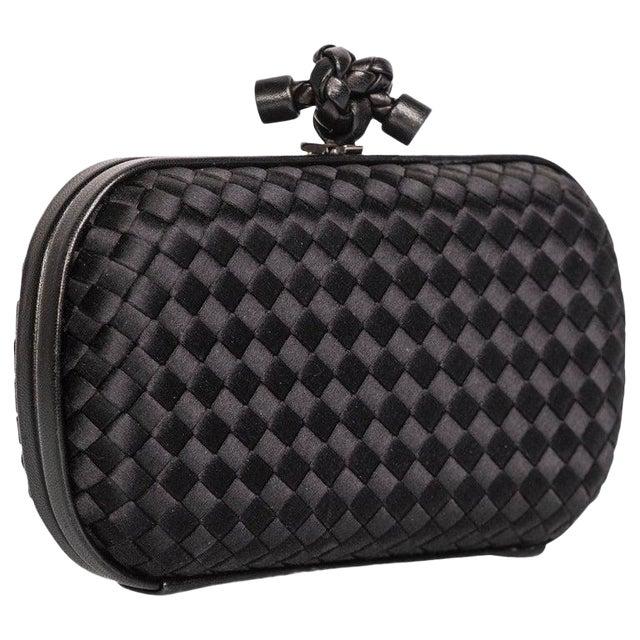 2000s Bottega Veneta Black Intrecciato Satin Leather Knot Clutch For Sale