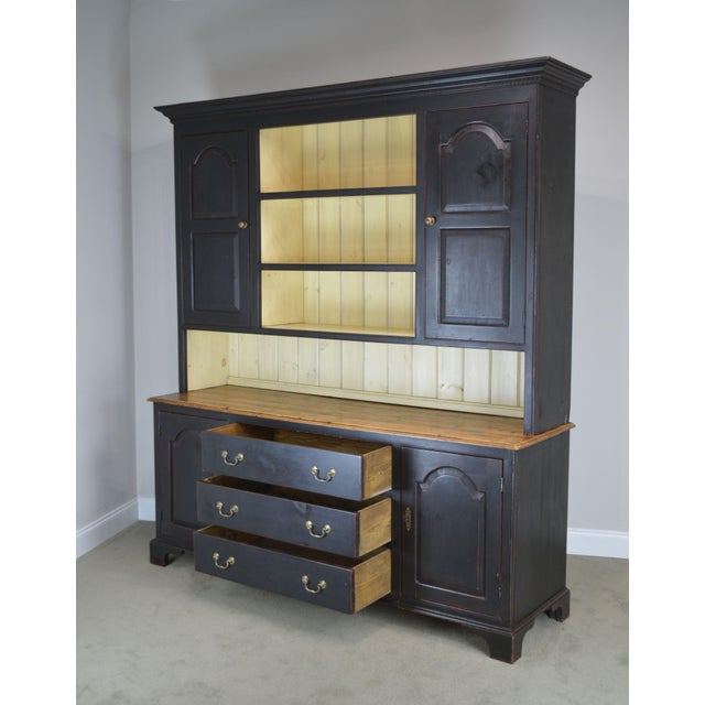 Monumental Custom Crafted Reproduction Country Painted Pine Step Back Hutch For Sale - Image 12 of 13