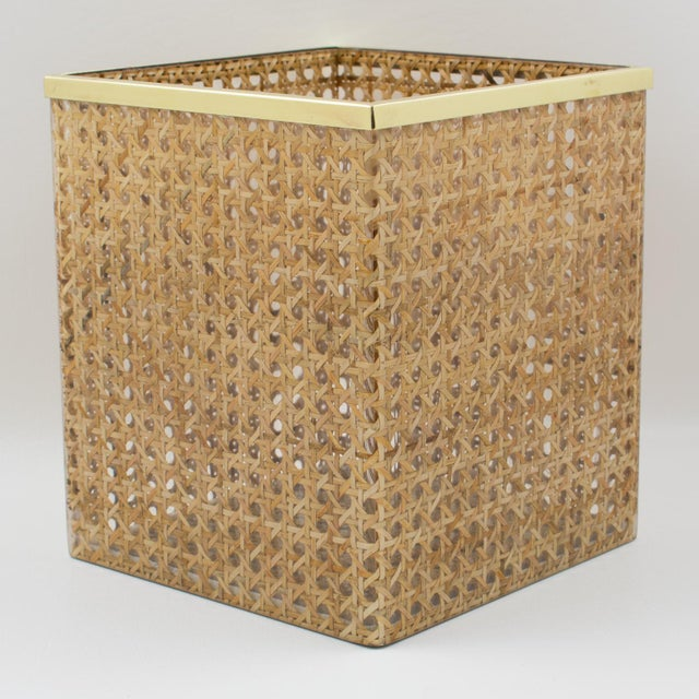 Christian Dior Home Collection 1970s Lucite and Rattan Waste Basket For Sale - Image 9 of 11