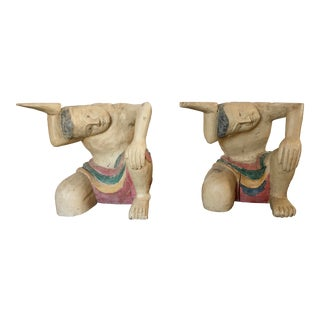 Vintage Hand Carved Balinese Sculptures / Table Bases - a Pair For Sale