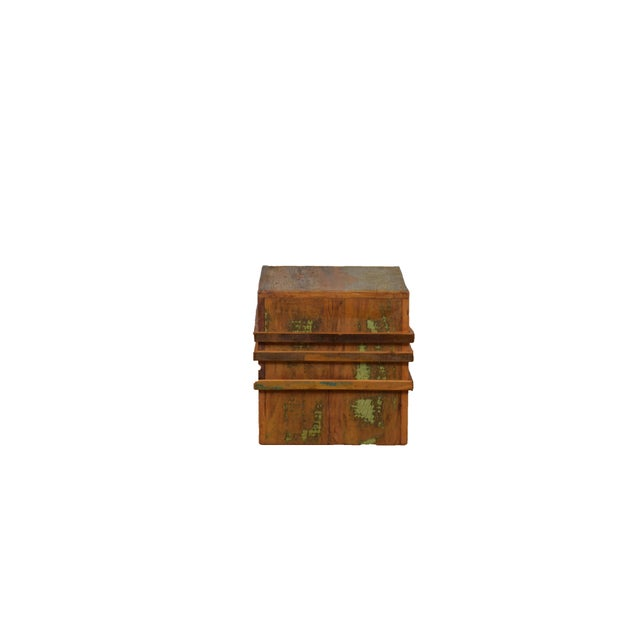 Contemporary Reclaimed Wood Cubic Stool on Casters For Sale - Image 3 of 5