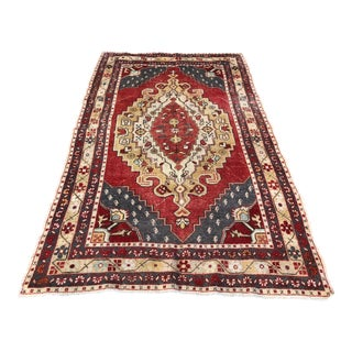 "1940s Turkish Oushak Wool Rug - 4'9""x7'9"""