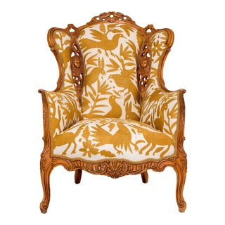 Vintage Carved Birds and Angels With Otomi Hand Embroidery Wingback Chair For Sale
