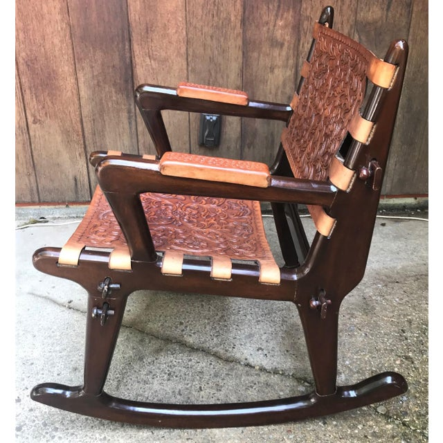 Mid-Century Modern Mid Century Angel Pazmino Sculptural Rosewood Rocking Chair For Sale - Image 3 of 10