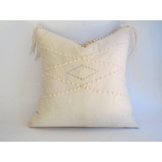 White Southwestern Blanket Fringe Pillows - A Pair - Image 7 of 7
