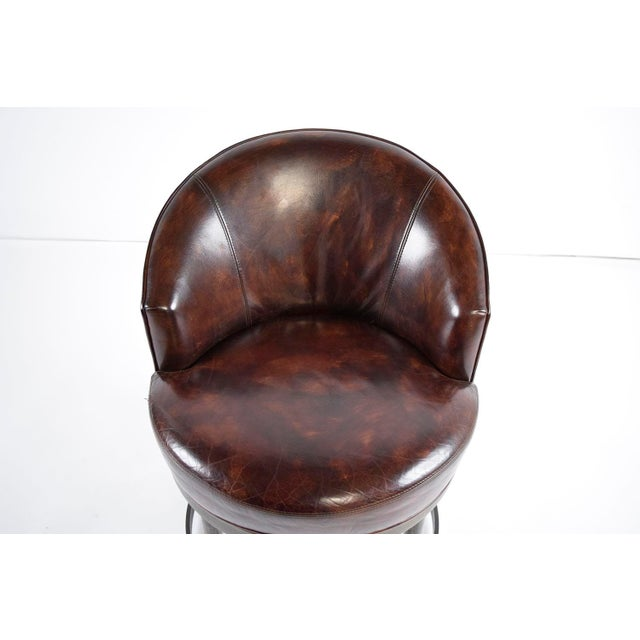 Vintage Art Deco Style Leather Accent Chairs - Set of 4 - Image 6 of 10