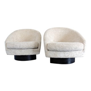 Mid Century Modern Adrian Pearsall for Craft Associates Barrel Swivel Lounge Chairs- A Pair For Sale