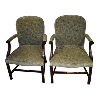 1970s Vintage Smith & Watson Chinese Chippendale Style Mahogany Accent Chairs- A Pair For Sale
