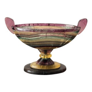 Rainbow Fluorite Carved Gemstone Centerpiece Bowl For Sale
