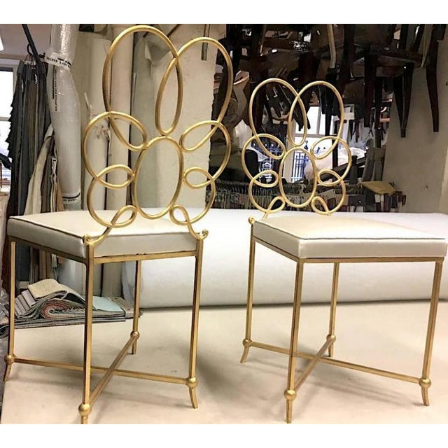 Rene Prou Rare Superb Witty Four-Flower Gold Leaf Wrought Iron Chairs in Silk For Sale - Image 6 of 6