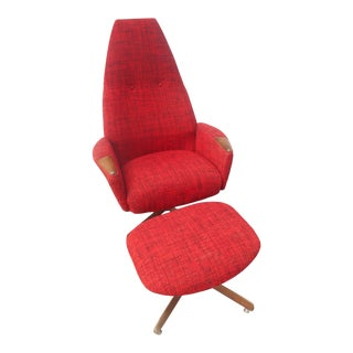 Adrian Pearsall for Craft Assoc. Mid-Century Modern Lounge Chair and Ottoman For Sale