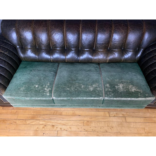 1930s Danish 1930s Art Deco Green Leather Channeled Sofa For Sale - Image 5 of 11