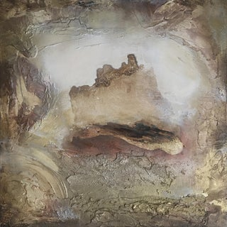 """Portal (#10 in Series) "" Original Abstrast Modern Neutral Art Metallic Landscape Painting For Sale"