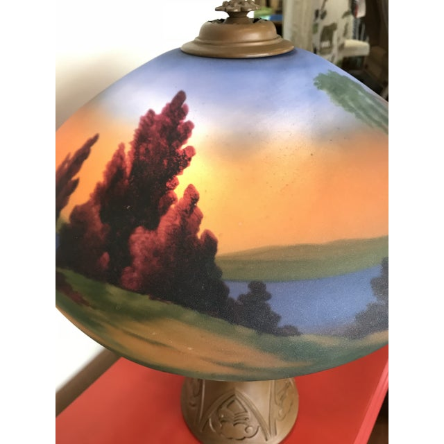Handel Co. Arts & Crafts 1930s Mission Style Reverse Painted Glass Shade Lamp Lake George Adirondack Style For Sale - Image 4 of 6