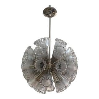 1960s Italian Nickel and Glass Sputnik Chandelier For Sale