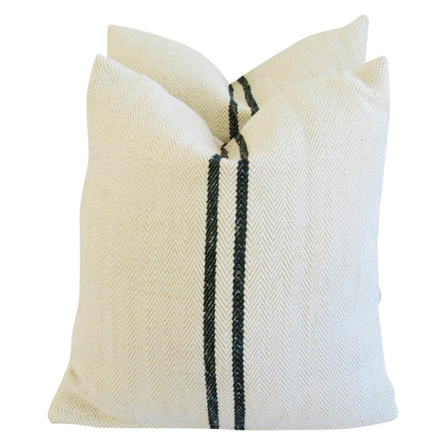 French Grain Sack Down & Feather Pillows - Pair - Image 1 of 10