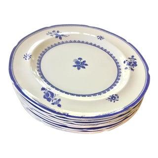 1950s Copeland Spode Gloucester Blue Scalloped Dinner Plates - Set of 8 For Sale