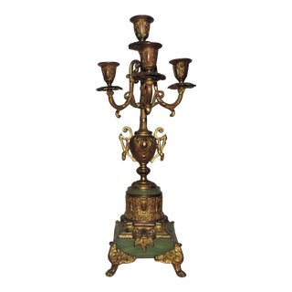 Antique Gilt Bronze Candelabra Lamp Gilt Bronze & Green Alabaster Candelabrum Candle Holders For Sale