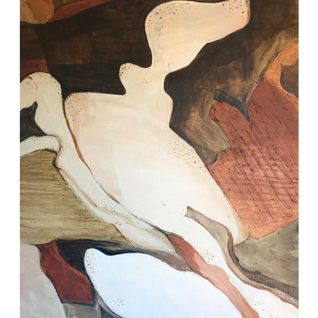 Vintage abstract expressionist painting, circa 1960s. Unframed oil on stretched canvas, in beautiful shades of brown,...