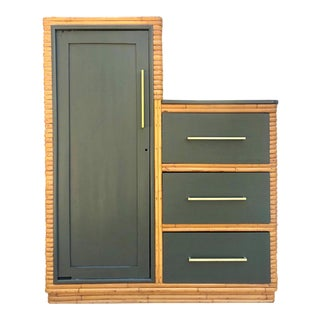 1960s Vintage Wrapped Rattan Armoire For Sale