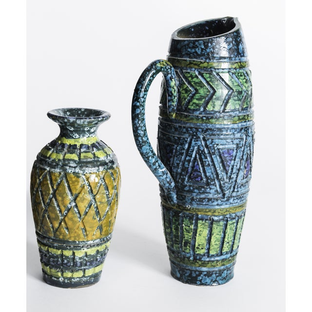 Blue & Yellow Incised Pottery Vases - a Pair - Image 3 of 5