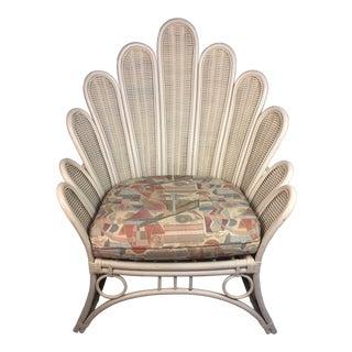 1970s Vintage Flower Petal Rattan Chair For Sale