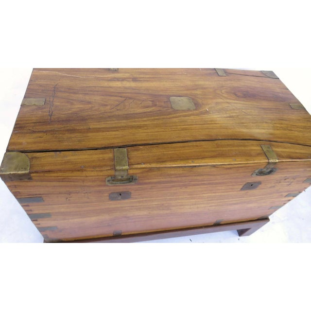 Campaign Early 19th Century Camphor Wood Campaign Chest on Stand For Sale - Image 3 of 9