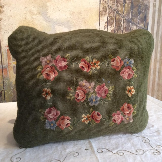 1930s Vintage Victorian Cast Iron Needlepoint Footstool For Sale - Image 9 of 12