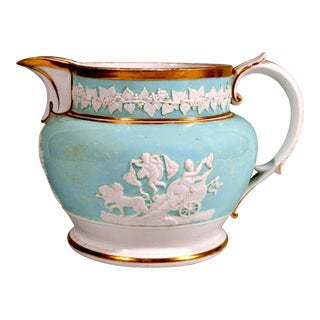 Neoclassical Ridgway Porcelain Large Moulded Jug With Light Blue Ground For Sale