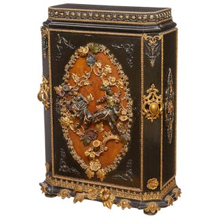 Painted Metal Mounted Ebonized Side Cabinet, 19th Century For Sale