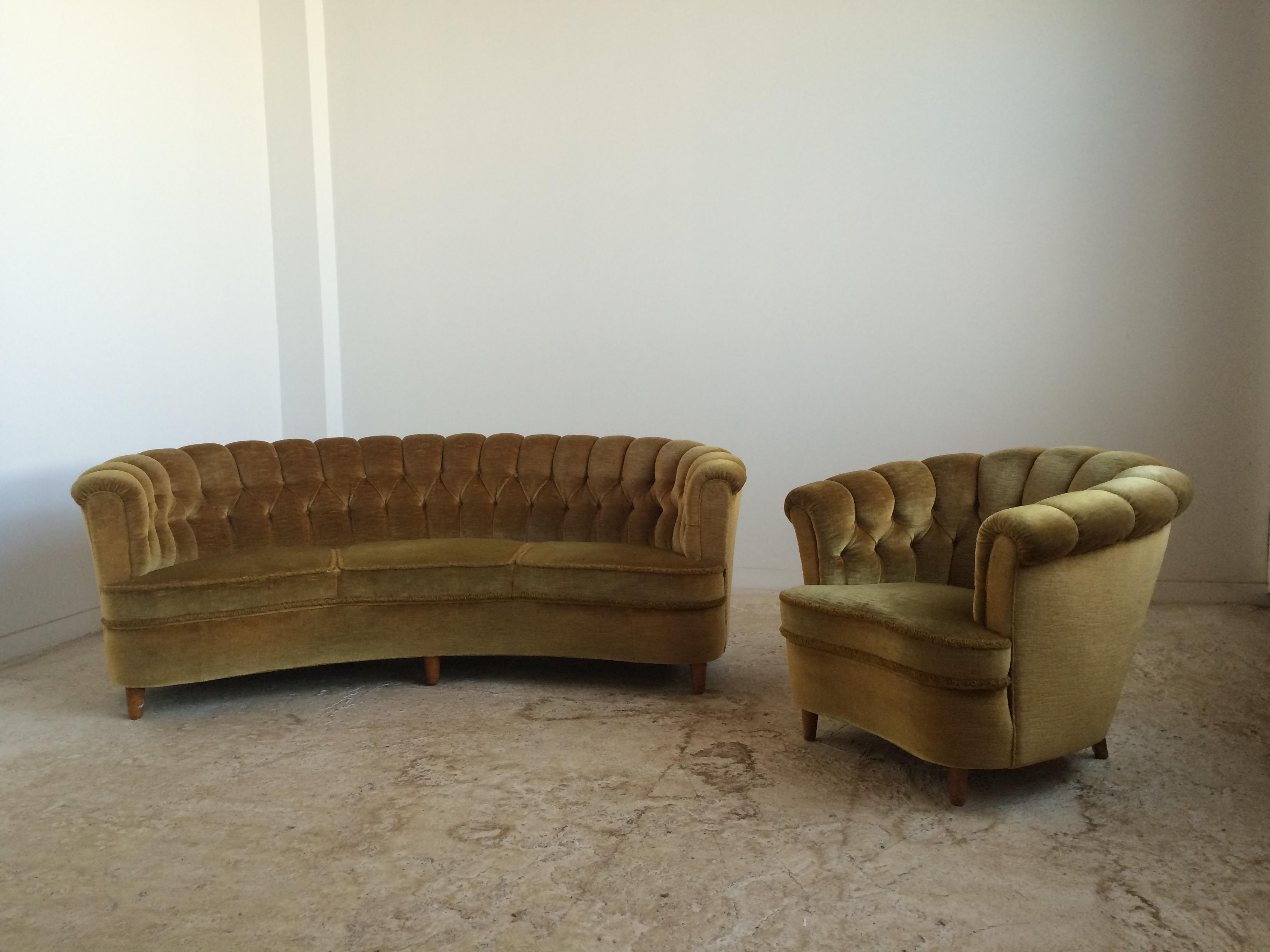 Tufted Curved Mohair Sofa And Lounge Chair In Deep Gold Mohair Upholstery.  Comfortable And Cozy