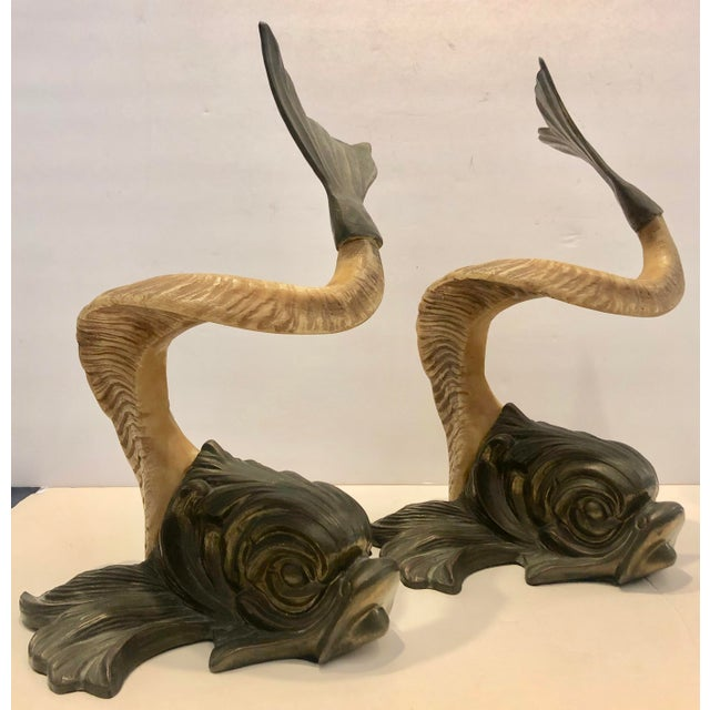 Brass and Faux Horn Fishes by Chapman/2 For Sale - Image 10 of 10