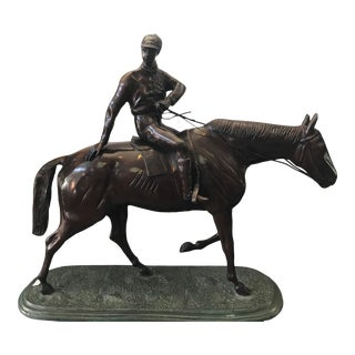 """Bronze Race Horse and Jockey 22.5 X 24"""" Sculpture on Green Bronze Base For Sale"""