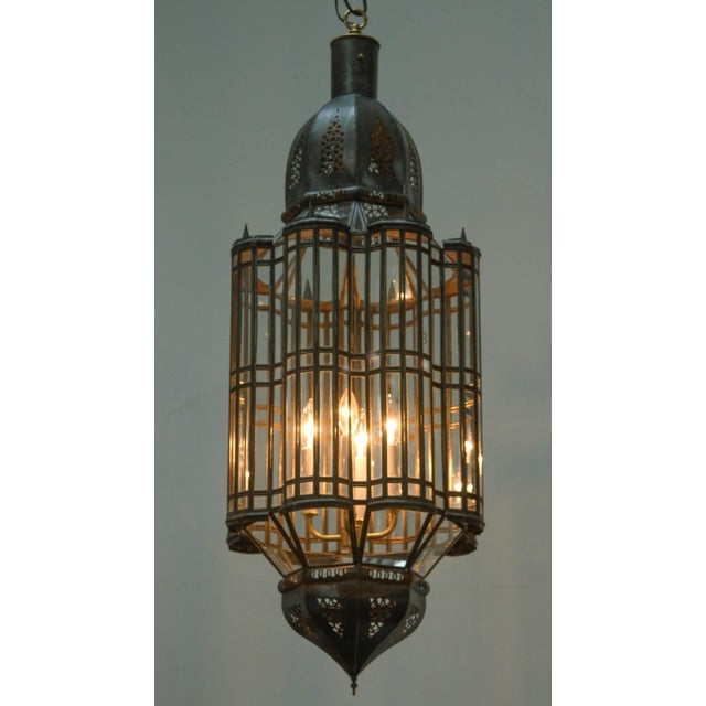 Large-Scale Moroccan Moorish Pendant Chandelier, Metal and Clear Glass For Sale In Los Angeles - Image 6 of 7