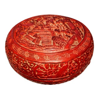 Chinese Cinnabar Carved Red Lacquer Over Timber Box For Sale