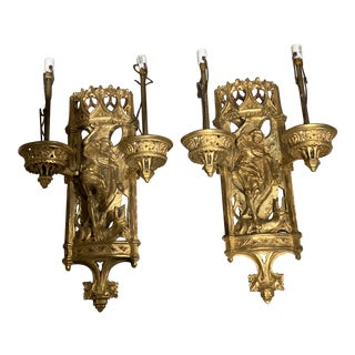 Caldwell Gothic St Michael Motif Sconces - a Pair For Sale