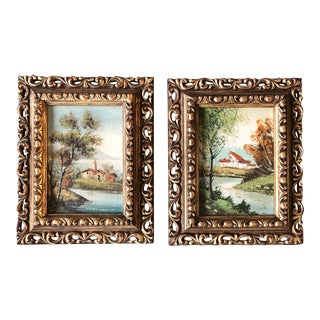 Gallery Wall Collection 2Vintage Classic European Landscape Paintings Frames 1950's - a Pair For Sale