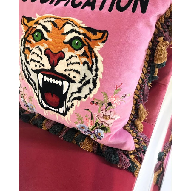 Vintage Lion in Frost Lucite Chairs Restored in Loro Piana Pink Velvet With Gucci Pillows - Pair For Sale - Image 10 of 11