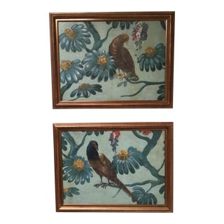 Antique French Painted Panels Depicting Birds and Flowers For Sale